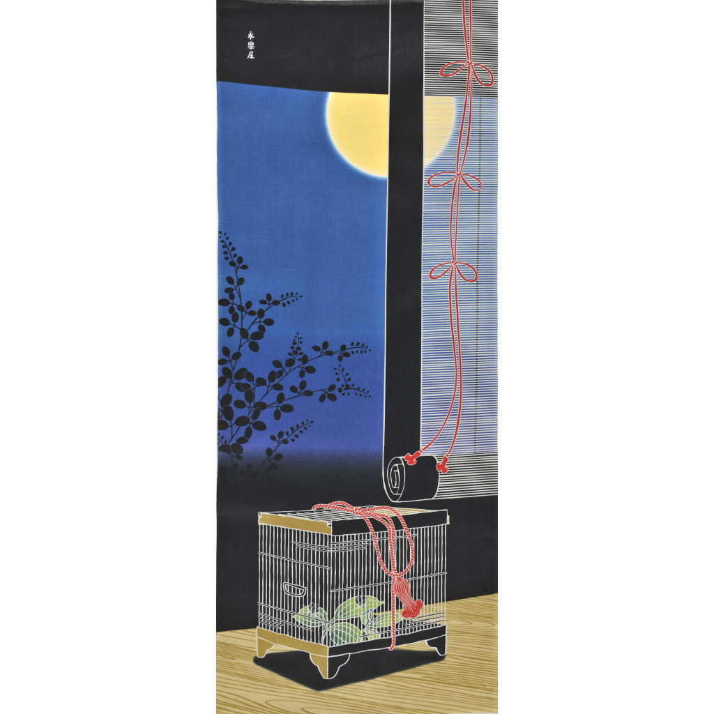 町家手拭 「月と虫籠」