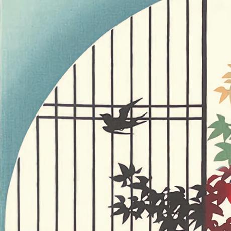 町家手拭「円窓の紅葉」