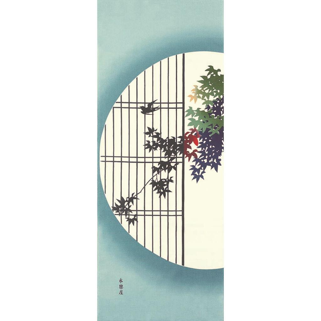 町家手拭 「円窓の紅葉」