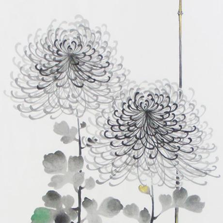 手描墨絵手拭 10月「菊」